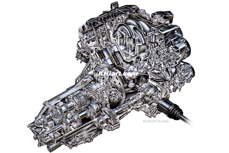 V6 cutaway car engine
