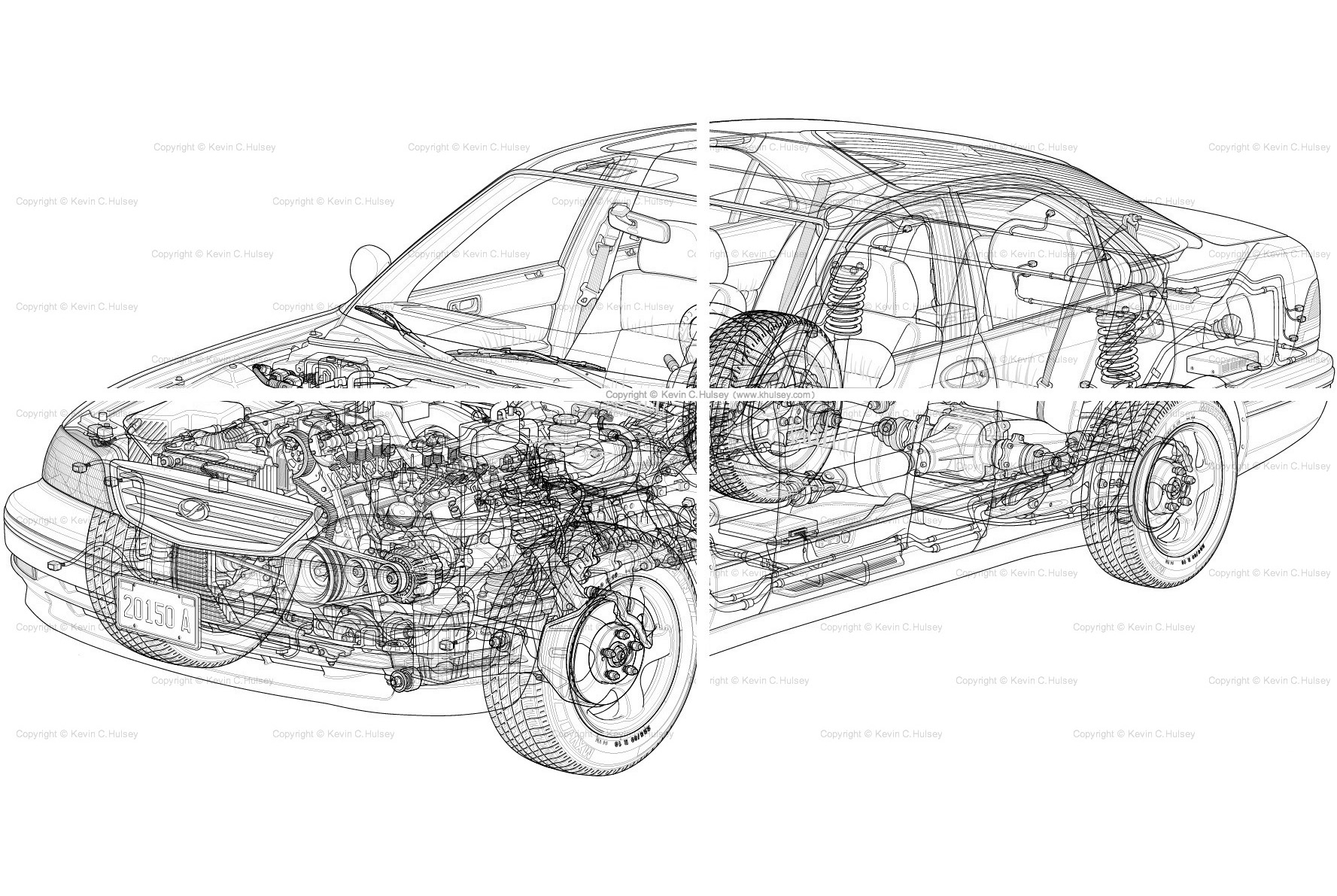Line Drawing Vehicles : Car engine and transmission cutaway free