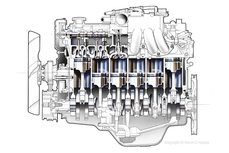 Isometric diagrams and exploded illustrations longitudinal car engine cross section malvernweather Choice Image