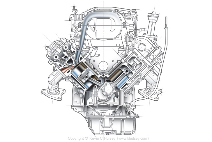 isometric diagrams and exploded illustrations v6 car engine cross section