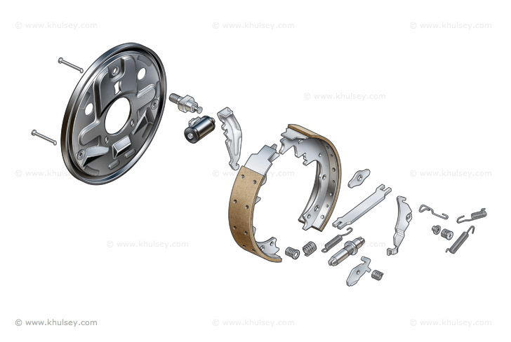 drum brake exploded illustration