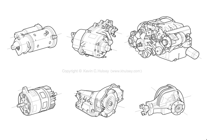 Automotive line drawings military vehicle engine components malvernweather Choice Image