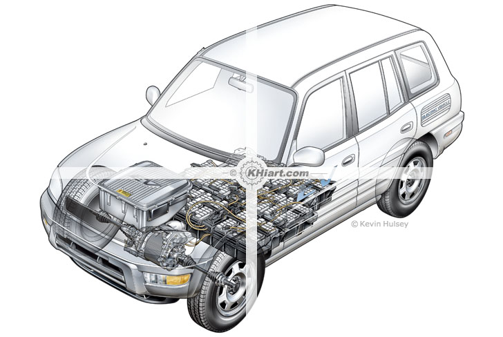 stock automotive illustrations and cutaways