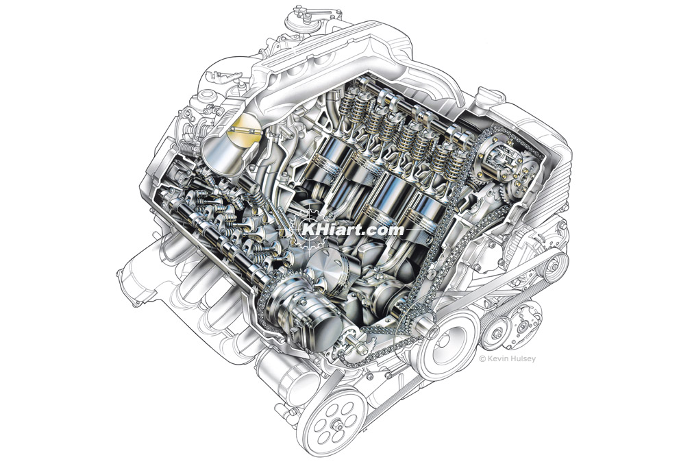 Car Engine Cutaway Stock Illustrations