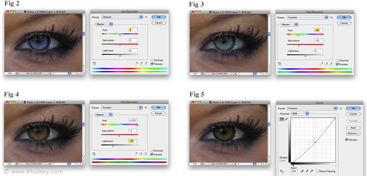 Changing eye color with photoshop using hue saturation to change eye color ccuart Images