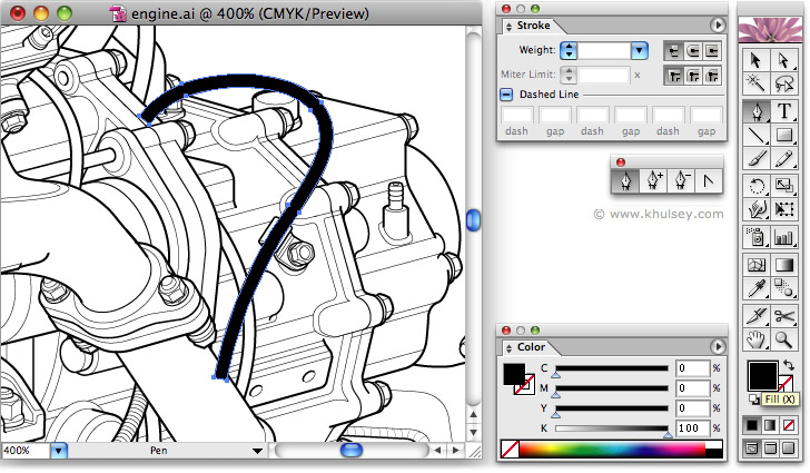 Line Drawing Program : Vector illustration tutorial on drawing hoses and wires