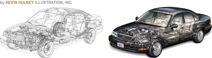 Illustration tutorials for technical and automotive illustrators and