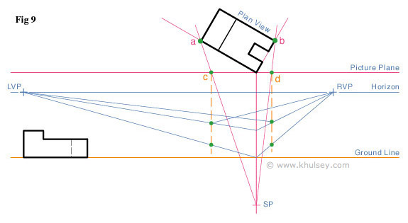 Plan Elevation And Isometric View : Point perspective tutorial on creating a simple