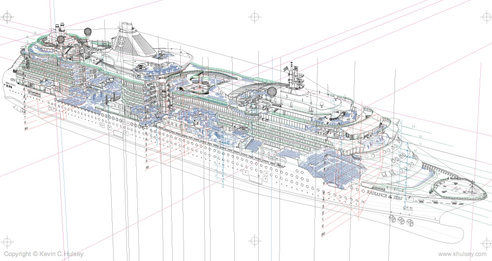 Ship vector art ship cutaway vector line construction final drawing malvernweather Images