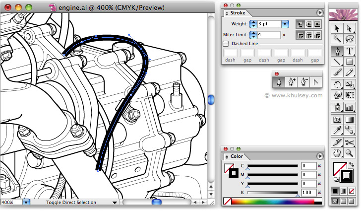 Line Art Drawing Software : Vector illustration tutorial on drawing hoses and wires